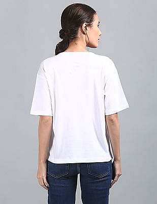 GAP Women White Drop Shoulder Boxy Tee With All Over Print