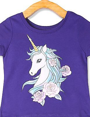 The Children's Place Toddler Girl Purple Unicorn Print T-Shirt