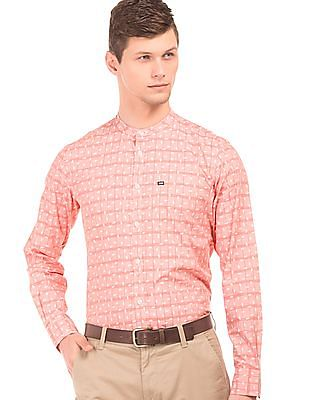 Arrow Sports Mandarin Collar Printed Shirt