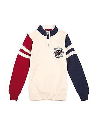 U.S. Polo Assn. Kids Boys Regular Fit Colour Block Sweater