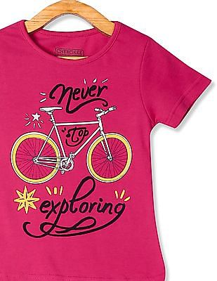 Cherokee Pink Girls Bicycle Print Cotton T-Shirt