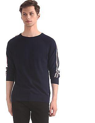 Ed Hardy Blue Striped Raglan Sleeve Sweater