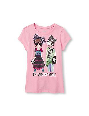 The Children's Place Girls Short Sleeve 'I'm With My Bestie' Graphic Tee