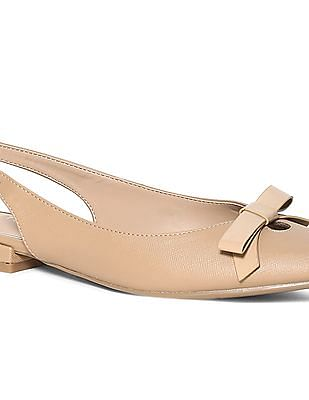 Stride Beige Bow Accent Point Toe Sandals