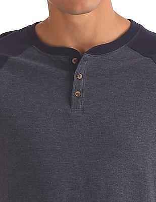 Aeropostale Heathered Henley T-Shirt