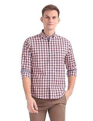 Nautica Long Sleeve Yarn Dyed Small Plaid Shirt