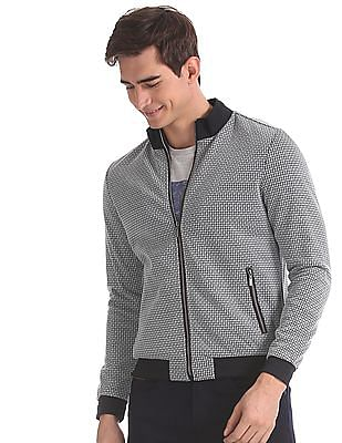 Arrow Sports Grey Patterned Bomber Jacket