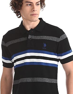 U.S. Polo Assn. Black Striped Cotton Polo Shirt