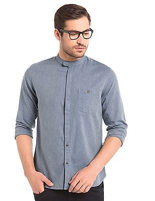 True Blue Slim Fit Herringbone Weave Shirt