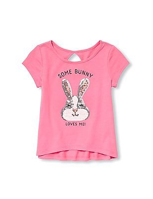The Children's Place Toddler Girl Short Sleeve Animal Sequin Cutout Back Graphic Top