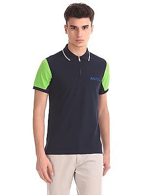 Nautica Short Sleeve Zip Front Polo