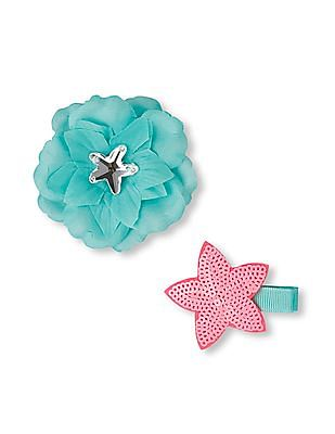 The Children's Place Girls Starfish And Flower Hair Clip 2-Pack