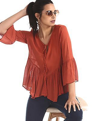 Flying Machine Women Orange Crinkled Boxy Top