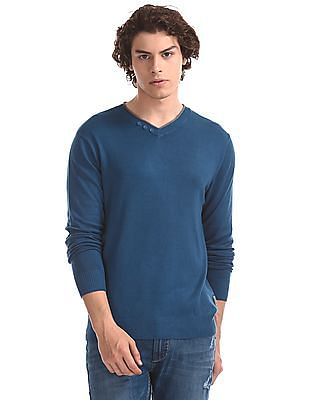 Flying Machine Blue Layered V-Neck Solid Sweater