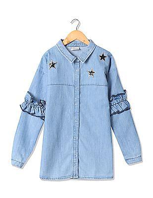 Cherokee Girls Spread Collar Denim Tunic