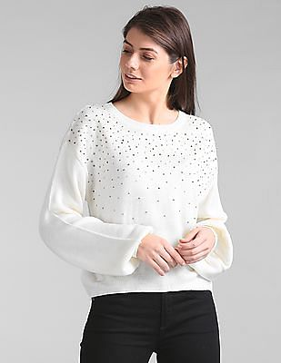 GAP Embellished Long Sleeve Sweater