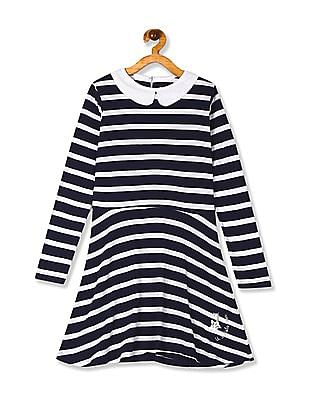U.S. Polo Assn. Kids Navy And White Girls Peter Pan Collar Knit Dress