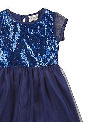 Cherokee Girls Embellished Yoke Fit And Flare Dress