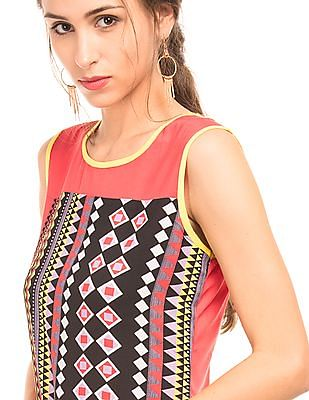Bronz Slim Fit Geometric Print Tunic