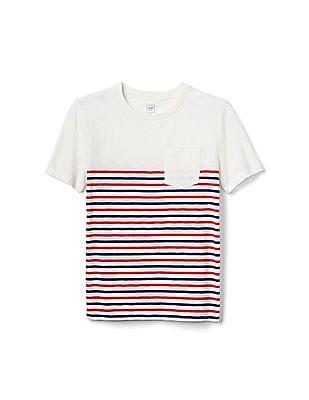 GAP Boys White Stripe Short Sleeve Slub Tee