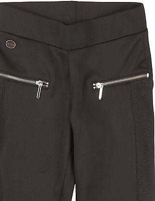 U.S. Polo Assn. Kids Girls Panelled Zipper Trim Leggings