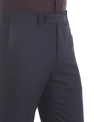 Arrow Blue Flat Front Solid Trousers