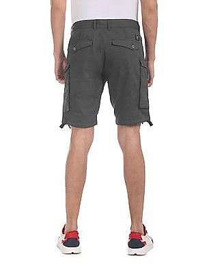 Flying Machine Grey Solid Cargo Shorts