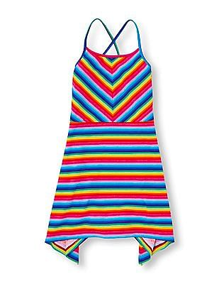 The Children's Place Girls Strappy Back Striped Dress