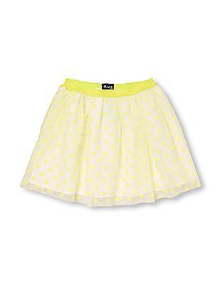 The Children's Place Girls Flocked Neon Dot Print Skirt