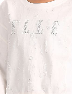 Elle Round Neck Embellished Sweatshirt