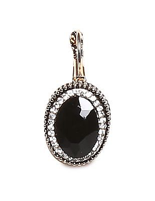 Unlimited Black Embellished Drop Earrings