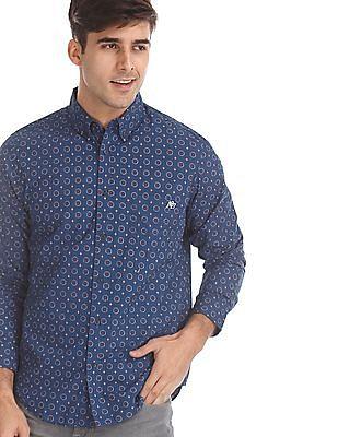 Aeropostale Blue Button Down Collar Printed Shirt