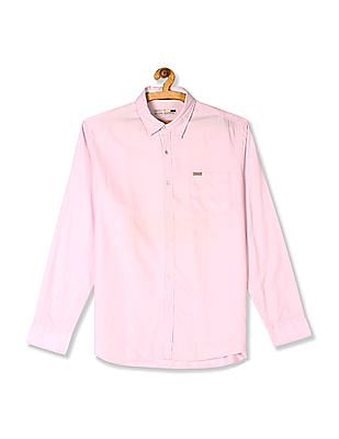 Flying Machine Pink Mitered Cuff Solid Shirt