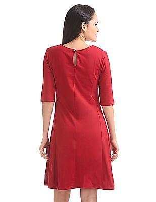 Elle Panelled Solid A-Line Dress