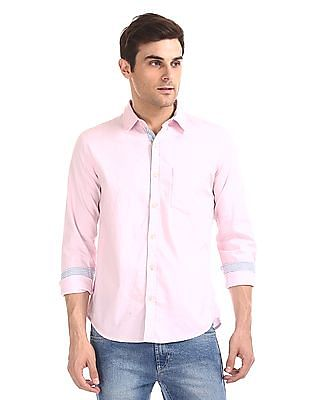 Flying Machine Rounded Cuff Solid Shirt