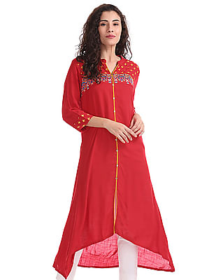 Anahi Mandarin Collar Embroidered Kurta