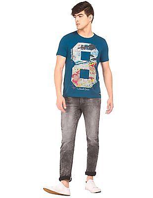 Flying Machine Numeric Print Crew Neck T-Shirt