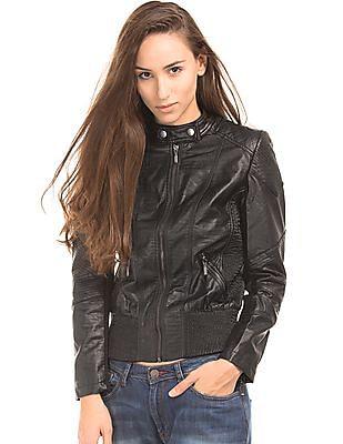 EdHardy Women Regular Fit Panelled Biker Jacket