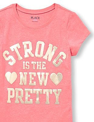 The Children's Place Girls Short Sleeve 'Strong Is The New Pretty' Neon Graphic Tee