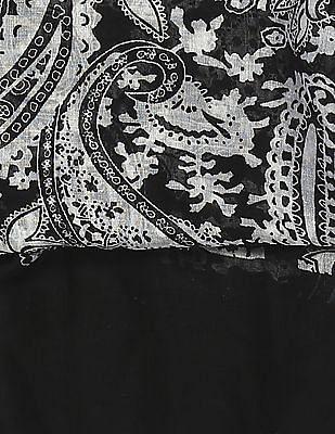 SUGR Black Paisley Print Stole