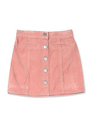 The Children's Place Baby And Toddler Girl Pink Button Front Cord Skirt