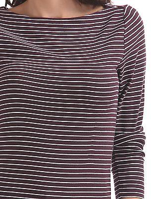 GAP Long Sleeve Modal Stripe Boat Neck Top