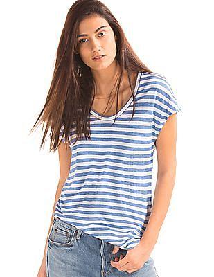 GAP Women Blue Cap Sleeve Stripe Tee