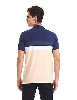 Ruggers Blue Side Vent Striped Polo Shirt
