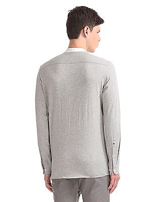 Arrow Colour Blocked Mixed Fabric Shirt