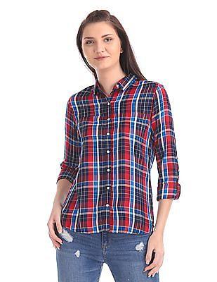 U.S. Polo Assn. Women Long Sleeve Check Shirt