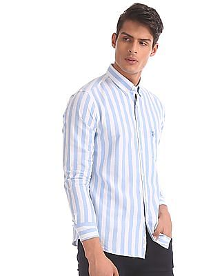 U.S. Polo Assn. Blue And White Tailored Regular Fit Striped Shirt