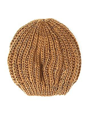 SUGR Brown Solid Knit Beanie