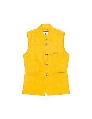 U.S. Polo Assn. Kids Boys Slubbed Nehru Jacket