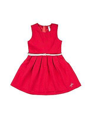 U.S. Polo Assn. Kids Girls Sleeveless Striped Dress